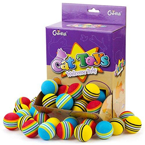 2 cm Schaum Katzenspielzeug Ball Regenbogen Farbe Bälle Kätzchen Aktivität Chase Spielen Mix Farbe ()