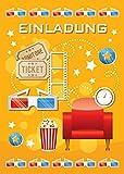 12 Einladungskarten zum Kindergeburtstag Kino Party / Cinema Party / schöne und bunte Einladungen