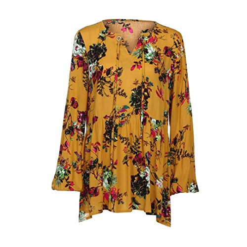 Amlaiworld Autunno 2017 Donna stampa manica lunga casual camicetta t-shirt Giallo