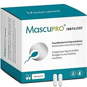 MascuPRO Fertilität für normale Fruchtbarkeit & Spermienproduktion • 180 Kapseln • Folsäure, Zink, L-Arginin, L-Carnitin • Kinderwunsch Mann