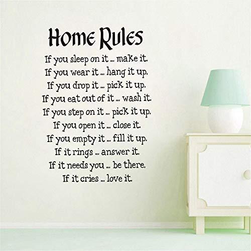 Cchpfcc Einfaches Design Haus Regeln Wandaufkleber Für Wohnzimmer Wand-Dekor Text Startseite Spruch Tapete Wandkunst Aufkleber Home Dekorationen