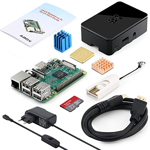 Globmall ABOX Raspberry Pi 3 Modelo B Starter Media Center Kit con 32 GB MicroSD, Adaptador de Corriente con Interruptor, 3 disipadores, Cable HDMI, Caja de Calidad, Lector de Tarjetas