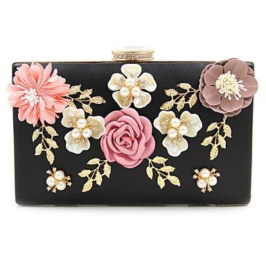 Frauen elegante Hochwertige Diamanten Flower Pearl Abend Tasche Black