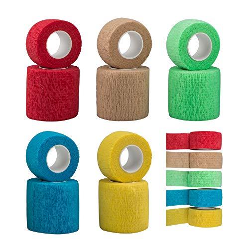 SourceTon 10 Stück Selbstklebende Bandage, Verletzungsband für Hunde und Katzen, unterstützt Muskeln und Gelenke, klebt Nicht am Haar, elastisch, atmungsaktiv, lindert Stress