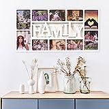 Multi Bilderrahmen Collage Bildergalerie Fotowand Wandgalerie Fotorahmen Familie Fotocollage für 10 Fotos Liebestammbaum für Hochzeit Familie Kinder, weiß
