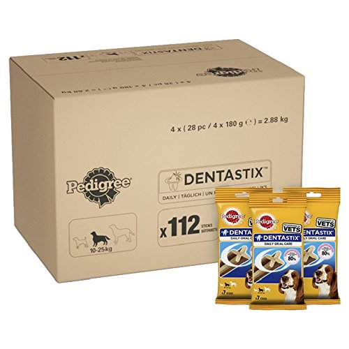 Pedigree DentaStix Daily Dental Chews for Medium Dogs 10-25 kg, 28 Sticks, 4 x 180 g (Pack of 4)