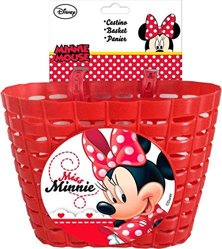 Disney Minnie Mouse Fahrradkorb für Kinderfahrräder mit 2 Laschen Kinder, Rot