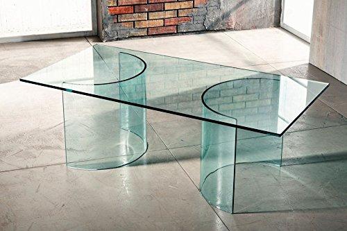 Imago factory phoenix - tavolino da salotto - base in vetro curvato con piano trasparente