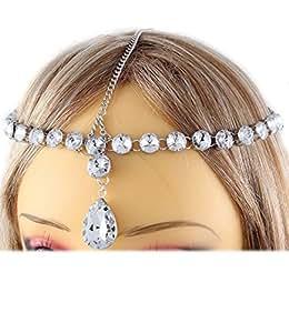 Bandeau head chain bijou de cheveux 19 pierres 1 goutte en verre transparent