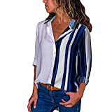 MRULIC Damen Shirt Tie-Bow Neck Striped Langarm Spleiß Bluse Gestreift Damen Tragen(T8-Mehrfarbig,EU-42/CN-XL)
