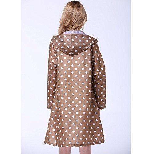 Outdoor Tupfen Regenmantel Damen Wasserdicht Lang Falten Regenjacke Erwachsene Braun