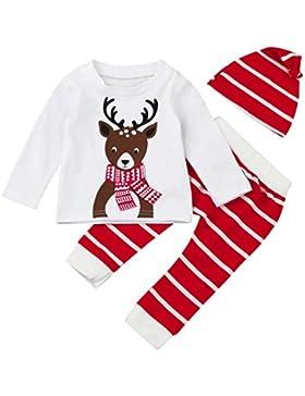 Babykleidung,Honestyi Neugeborene Baby junge&Mädchen WeihnachtenDeer Print Tops+ Pant+Cap Outfits Kleidung Set