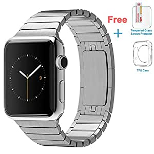 eoso Apple Watch Band, Stainless Steel Replacement Smart Apple Watch Band Link Bracelet with Double Button Folding Clasp for 42mm Apple Watch All Model (Bracelet Silver,42mm)
