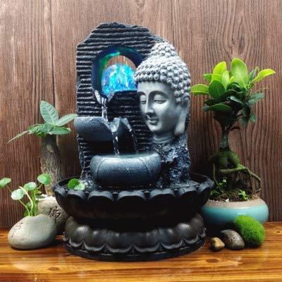 Creativo Chino Estatuas De Buda Adornos De Agua Fuente Zen Sala De Estar Suerte Decoración del Hogar Seguridad Feng Shui Artesanía B 28X20.5 Cm