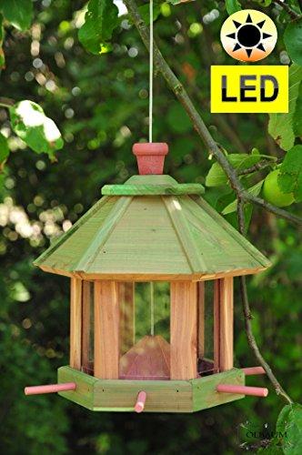 Vogelhäuschen Futterhaus, Vogelhaus Futterstation,mit *LED-Beleuchtung/Licht als Zubehör, Garten-Vogelhaus mit 6 x Futterdosierer und Silo,Nistkasten PURE GREEN (GRÜN),gras Futterfläche + Dach,-Vogel Nistkasten,Vogel MIT-Futterstation Farbe grasgrün grün kräftig tannengrün/natur