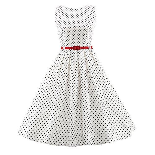 iLover Vintage Rockabilly gestreiften Kleid Hepburn Stil Partykleid Cocktailkleid 50er Jahr Abendkleid V095-WhiteDots