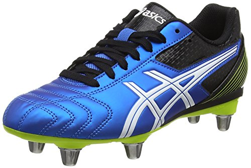 ASICS Lethal Tackle GS, Scarpe da Rugby Unisex-Adulto, Blu (Electric Blue/White/Flash Yell 3901), 37.5 EU
