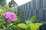 ZAUN24 Sichtschutzstreifen mit Rillen (PVC) | 10 Stück | Höhe 19 cm | Länge 2,52 m | Farbe anthrazitgrau (ähnlich RAL 7016)
