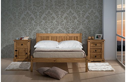 4ft6 double solid pine wood bed frame rio bedstead
