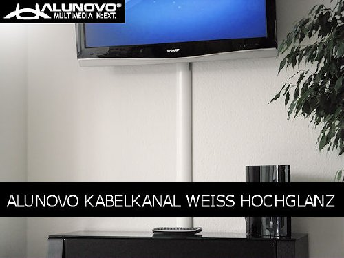 Preisvergleich Produktbild TV Design Aluminium Kabelkanal in weiss Hochglanz lackiert in verschiedenen Längen von ALUNOVO (Länge: 40cm)