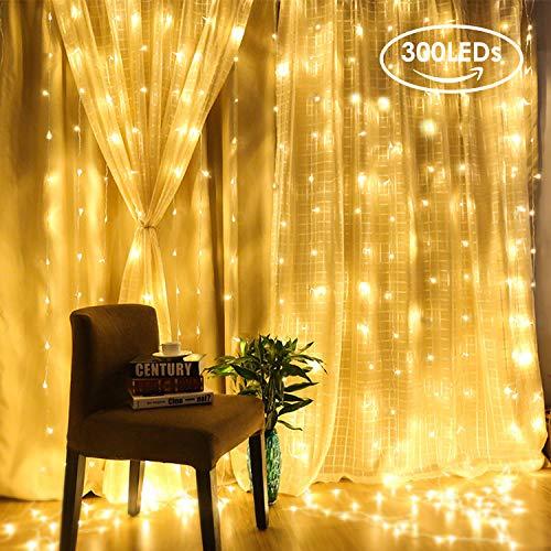 Led Tenda Luminosa, 300 Leds Tenda Luci da Esterno Luci Stringa Catene luminose per Interno, Casa e cucina Ornamento IP65 Impermeabile per Decorare Interni ed Esterni