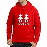 lepni.me N4132H Sweatshirt à capuche manches longues IDAD 2,0 Pères Jour (Large Rouge Blanc)