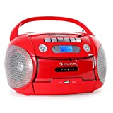 auna Boomheart Ghettoblaster Kassettenplayer (CD-Player, UKW-Radio, MP3-fähiger USB-Port, Netz-/Batteriebetrieb, transportabel) rot