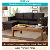 Furny Davis 3+1 Ottoman L Shape Leatherette Sofa (Brown)