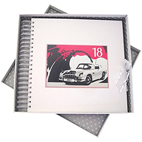 White Cotton Cards 18th cumpleaños, tarjeta de memoria y libro, coche clásico, color blanco