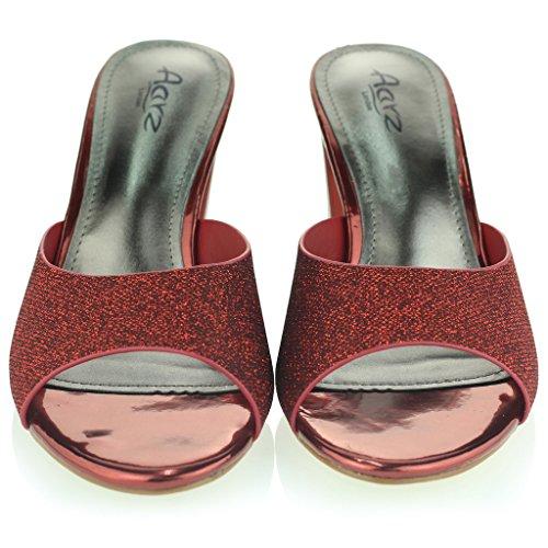 Donne Le signore Scintillante Scivolare Su Diamante Mid Tacco a Blocco Sera Festa Ballo di Fine Anno Sandali Scarpe Taglia Rosso