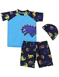 34d926664 Mitlfuny Verano Conjuntos de Surf Traje de Baño 3 Piezas Manga Corta Bañador  Camisetas Pantalones Cortos Gorro de Natación para Niñas…
