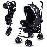 COSTWAY Kinderwagen Buggy Reisebuggy Sportwagen Spazierwagen Kinderbuggy Babywagen klappbar (schwarz)