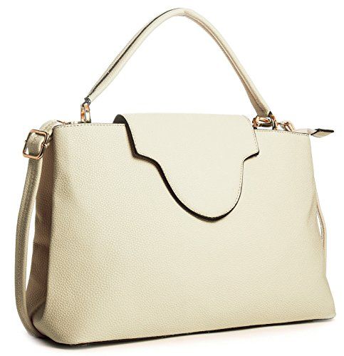 Big Handbag Shop donna Trendy Designer Ispirato in finta pelle top Handle Satchel Bag Light Beige