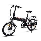 Minilism Faltbares E-Bike, Elektrofahrrad Klapprad 36V 250W Mountainbike, Große Kapazität Pedelec mit Lithium-Akku und Ladegerät (20Zoll/26Zoll) (20'' weiß)