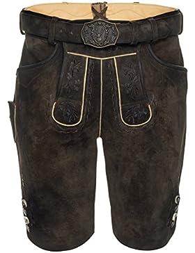 Michaelax-Fashion-Trade Spieth & Wensky - Herren Trachten Lederhose mit Gürtel, Antik geschwärzt Ferry (290675...