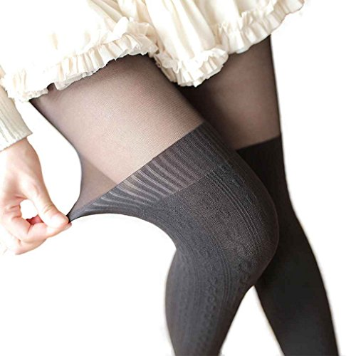 Babysbreath17 Frauen-Mädchen-weiche elastische Splicing Strumpf Strumpfhosen hohe Knie-Strumpfhosen Silk Strumpfhose Fashion Velvet Lange Socken Twist schwarz auf schwarz unten
