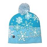 CIPOPO Wintermütze Weihnachten LED Beleuchtete warme Beanie Hüte & Mützen Warm Stricken Weihnachtsmann Schneeflocke Strickmütze Xmas Beanie Herren & Damen (C)