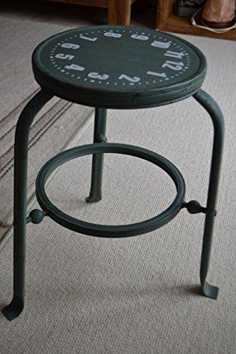 Hocker - Sitzhocker - moderner stabiler Metallhocker im Shabby Chic - Loftstil, stabile Ausführung, grün-blau