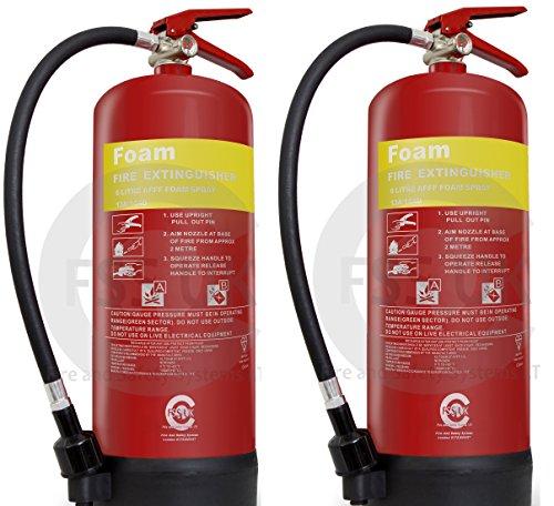 FSS UK - 2 extintores de incendios de 6 litros, homologado por la CE y BSI - - Ideal para barcos cocinas, restaurantes, oficinas, almacenes, hoteles y líquidos inflamables.