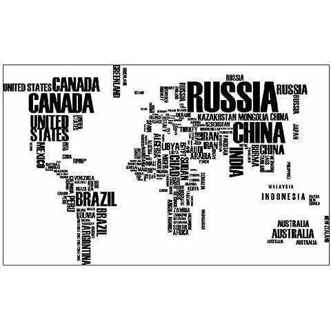Mapa del Mundo en nombres de países vinilo adhesivo decorativo de pared para decoración de la sala de