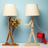 HROOME Kreative Modern DIY Verstellbare Holz Schreibtischlampe Leselampe mit Stoff Lampenschirm E14 Schraube für Kinder Schlafzimmer Büro Wohnzimmer Nachttischlampe Tischleuchten Designer Lampen