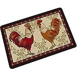 Epinki Gummi Teppich Groß Rooster Muster Teppiche für Wohnzimmer Küche Bunt 40x60CM