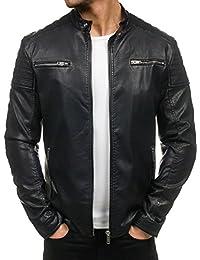 BOLF - Veste - Faux cuir - Fermeture éclair – Homme – Motif – 4D4