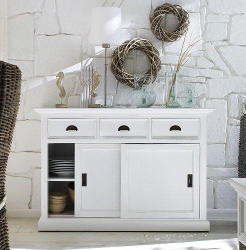 Albion Weiß lackiert Mahagoni Esszimmer Möbel Buffet mit Schiebetüren -