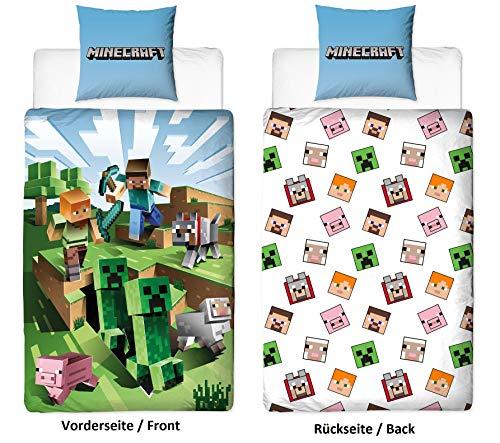 Character World Wende Bettwäsche-Set Minecraft, 135x200cm + 80x80cm, 100% Baumwolle, grün Motiv Craft Blöcke TNT und Spitzhacke Battle