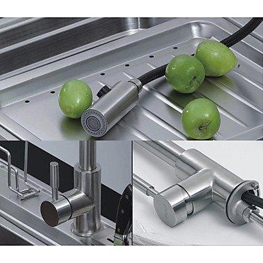 Küchenarmaturen Küchenarmatur Zeitgenössisch Mit ausziehbarer Brause Edelstahl Nickel -