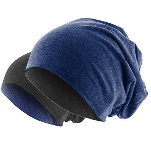 Hatstar Slouch Long Beanie 2in1 Reversible Jersey Mütze in 44 Farben (dunkelgrau/blau meliert)