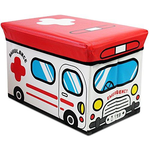 Klappbarer Polsterhocker mit Staufach für Kinder, 49x31x31cm, Motiv Ambulance, Kunstleder, Hocker Klapphocker Sitzwürfel Sitzhocker Aufbewahrungsbox Spielkiste