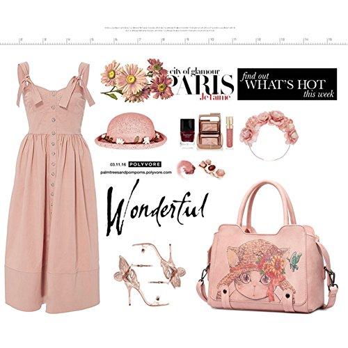 Elegante für Girls Top Pink für Katze Yoome Rosa stilvolle Handle Teenage Frauen Taschen Satchel Taschen Nette q4Ixn70vw