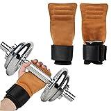 AOGETYO Tiradores de levantamiento de pesas de cuero para gimnasio y entrenamiento con correas y reposamuñecas para hombre y mujer